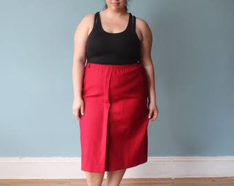 plus size skirt | cranberry pleated front skirt | 1980s XXL