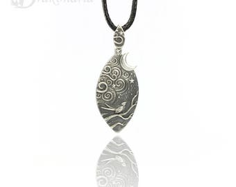 Magical Night - sculpted silver pendant, limited collection, forest stories, moon, bird and night sky