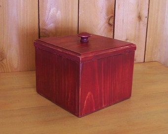 Coffee Filter Storage Box Primitive Handmade Cannister for Fluted Basket Filters Kitchen Storage with Lid / Burgundy Color Choice