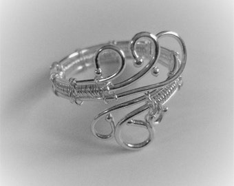 Fine Silver Wire Ring, Curled and Adjustable