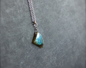 Labradorite Pendant Necklace - No. 13, Sterling Silver, Dark Teal Blue Flash, Gemstone Necklace, Bohemian Jewelry