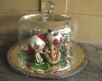 Vintage Glass Dome Cloche | Round Silver Tray | Collectible Display | Shabby French Cottage | Christmas Collectible Showcase