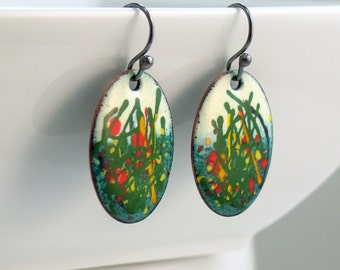 Bright Copper Enamel Dangle Earrings, Red & Yellow Floral Design, Handmade Original Vitreous Enamel on Metal, Painterly Earrings, Colorful