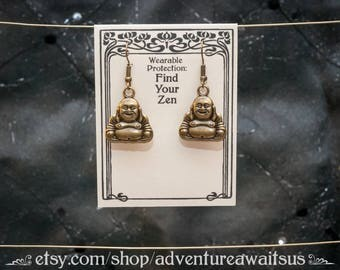 Find Your Zen - Buddha Earrings - metal antique bronze stainless steel spiritual sacred buddhism happy fat seated India china japan tibet