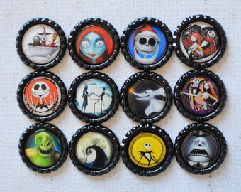 Nightmare Before Christmas Magnets- Jack and Sally Bottlecap Magnets- Nightmare Before Christmas Gift, Jack Skellington Gift- Christmas Gift