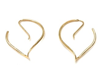 14k Gold Spiral Hoops, Modern Minimalist 14k Gold Hoop Earrings, Goldsmith Spiral Earrings, 14k Yellow Gold Earrings, Architectural Jewelry