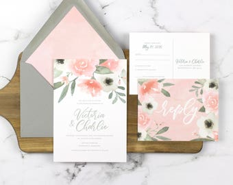 pink floral wedding invitation, blush wedding invitation, pink and gray wedding, watercolor floral wedding invitation, romantic wedding