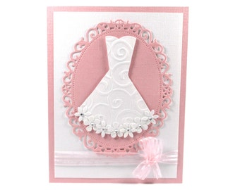 Wedding shower card, bridal shower card, bridal gown, bride, wedding dress, embossed card, pink