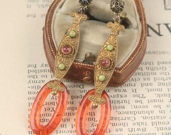 antique Czech Glass earrings sterling filigree + gilt victorian art deco 1920s vintage flapper chandelier dangle