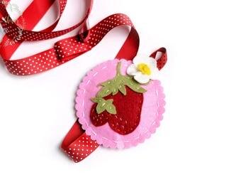 Strawberry Bow Holder - Felt Nursery Room Decor Pink Red strawberry blossom- Hair Bow Holder