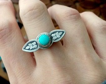 Sleeping Beauty Turquoise Sterling Silver Stamped Ring - Size 6.5 - Bohomian Boho Ponderbird