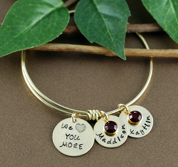 Personalized Bangle Bracelet, Love You More Bangle, Mothers Bracelet, Gift for Mom, Gold Bangle Charm Bracelet, Name Bracelet, Kids Names