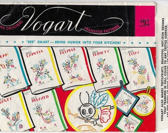 Vogart 293 Hot Iron Transfer Patterns Busy Bees Mid Century 1940s – 50s