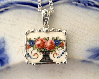 Broken china jewelry - basket vase of roses, forget me nots - vintage china - broken china jewelry pendant necklace