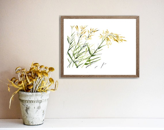 Blowing in the Wind Art print, watercolor painting, bamboo plants on a windy day, Green, yellow, nature art , minimalist landscape,