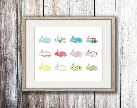 Rabbits art print, rabbits all over illustration, nursery decor, kids wall art, baby shower, pastel rabbits print, Easter bunnies art