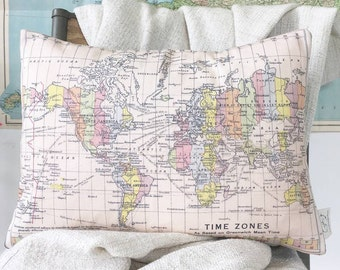 Large map cushion - heart embroidered to show your journey- your journey - map, travel, journey, timezone