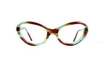 50s Can Opt Cat Eye Eyeglasses Frames Women's Vintage 1950's Translucent Green & Brown Frames #M857 DIVINE (EB)