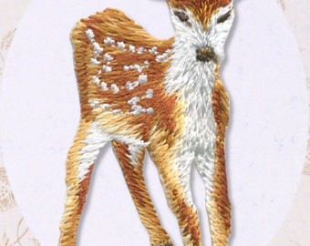 Kawaii Fawn, Bambi, Embroidered Iron On Patch, Japanese Iron on Applique, Cute Fawn Motif, Animal Applique, Easy Embroidery Applique, W317