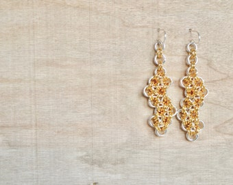 Chainmaille  Earrings - Long Gold and Silver Dangle Earring - Gold rings - Silver Rings - Gold Earrings - By BALOOS