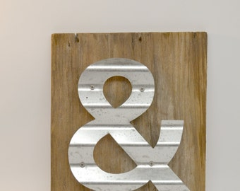 Reclaimed Wood Sign, Ampersand Sign, Ampersand Wall Decor, Rustic Decor, Barn Wood Sign, Dorm Decor, Beach Decor, Cottage Chic Wood Sign