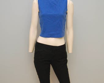 Vintage 1990's Royal Blue Ribbed Crop Top Tank Top with Boatneck from The Limited Size Large - Basic Sleeveless Shirt Cute Summer 90's