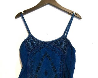 Embroidered Cropped Tank Top