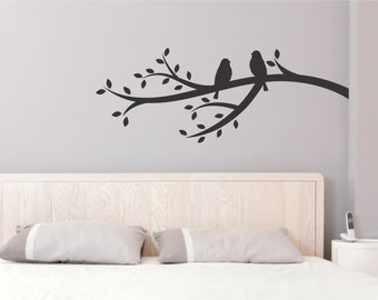 Tree Branch Wall Decal - Tree Branch Birds Decal - Birds on Branch Decal - Vinyl Tree Branch and Birds Decal - Birds Wall Decal