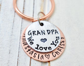 Grandpa Keychain, Grandfather Gift, Grandpa Gift, Gift for Papa, Papa Keychain, Personalized Grandpa Keychain, Key Chain, Gift for Grandpa