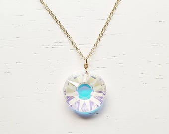 Sun Crystal Necklace - swarovski rainbow faceted pendant on long gold filled chain simple modern jewelry