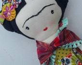 Frida-inspired cloth doll custom heirloom nursery decor rag doll child friendly frida kahlo