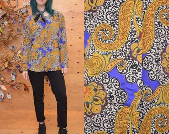 Vintage 80's silky psychedelic baroque geometric pattern paisley print blouse s m slouchy button down flowing maximalist versace style