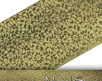 "Textured Brass Abstract Flower and Leaf Pattern 24 gauge Sheet Metal 2.5"" x 12"" - Solid Brass Sheet Metal 86"