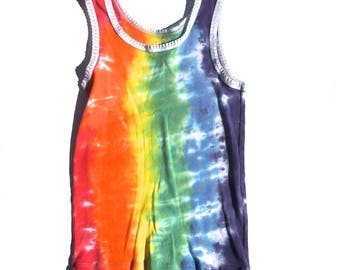XS/S classic tie dye sleeveless tank top 90s vintage crop top womens shirt extra small rainbow festival cotton hipster