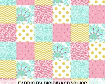 Gold Pink Floral Cheater Quilt Fabric By The Yard - Baby Girl Nursery Quilt Patches Print in Yard & Fat Quarter