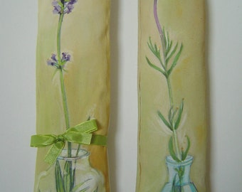 French Lavender Stem in Blue Glass - Lavender Sachet Pillow Hand Painted Room/drawer/closet Scented Cottage Charm Unique Art Gift