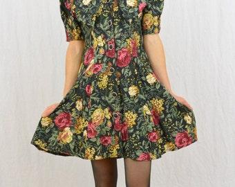 Vintage Floral Mini Dress, Sailor Collar, Size Small, 80's-90's Clothing, Dolly Dress, Hipster, Big Peter Pan Collar, Grunge, Mori Girl