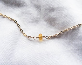 Citrine Mini Drop Necklace | Gold Filled Citrine Necklace | You're a Gem Collection