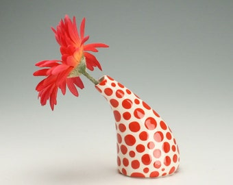 Red Polka Dots Small Ceramic Bud Vase, Office Desk Accessories, Modern Pottery Flower Vase, Polka Dot Ceramic Vase, Hand Painted Urban Vase