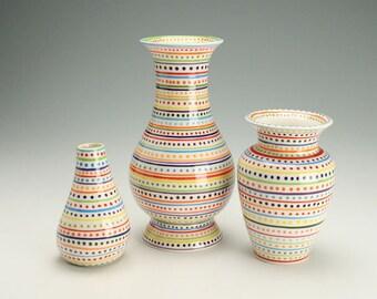 Tall Vase, Stripes and Dots Flower Vase, Striped Ceramic Vase