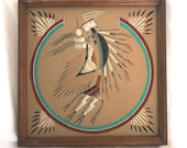 Vintage Navajo Sand Painting, Wall Decor Hanging, Native American Sand Art, Harmony with  the Universe