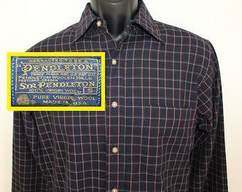 Sir Pendleton brand vintage oxford shirt Small navy blue striped pattern 70s 80s 100% virgin wool