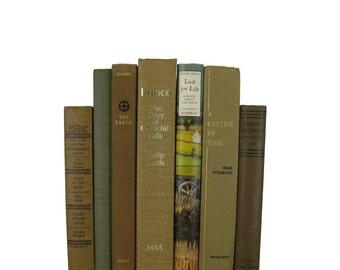 Brown Earth-Tone Tan  Decorative Books, Used Books, Old Decorative Books,  Wedding Book Decor, Book Lover Set, Home Decor, Housewarming Gift