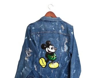 Mickey Mouse Jacket with Sequin. Denim jean Disney world acid washed shredded ooak bleached patch sequins hipster green blue yellow graphic