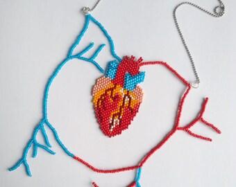 Anatomical heart necklace.Long necklace.Bib Necklace.Statement Necklace.Cardiac Jewelry.Human Heart.Funky Necklace.Greys anatomy.Corazon