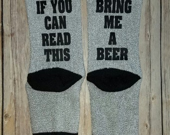 Beer Socks, Beer Me, Wine Socks, If You Can Read This, Men's socks, Men's Gift, Bring Me a Beer, Funny Socks, Stocking Stuffer, Christmas