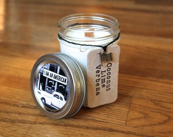 Coconut Lime Verbena Soy Candle - Plantable Tag - Soy Wax - Woodwick - Wildflower Seeds - 8oz. Soy Candle - Americana - American flag