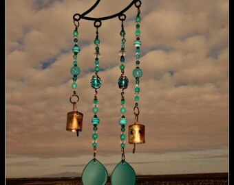 Beach glass Wind Chime Beach Glass wrought iron moon sea glass beach glass windchime