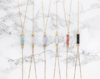 Gemstone Lariat Necklace, Bar Lariat Necklace, Gemstone Necklace, Y Necklace, Modern Lariat, 18k Gold Necklace, Layering Necklace, Pendant