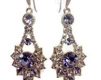 Purple Bridal Earrings, Lilac Earrings, Gatsby Earrings, Swarovski Crystal Bridesmaid Earrings, Art Deco Earrings, Bridesmaid Gift, RAYS